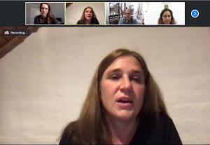 Sylvia Cremer in a Zoom meeting