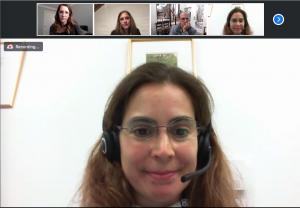 Nathalie Stroeymeyt in a Zoom meeting
