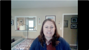 Liz Lange in a Zoom meeting