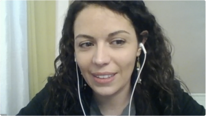 Federica Pierini in a Zoom meeting