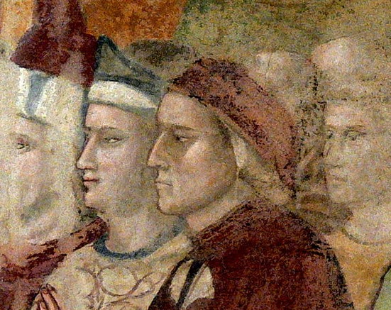 Dante and Brunetto Latini. Fresco of San Bargello, attributed to Giotto.
