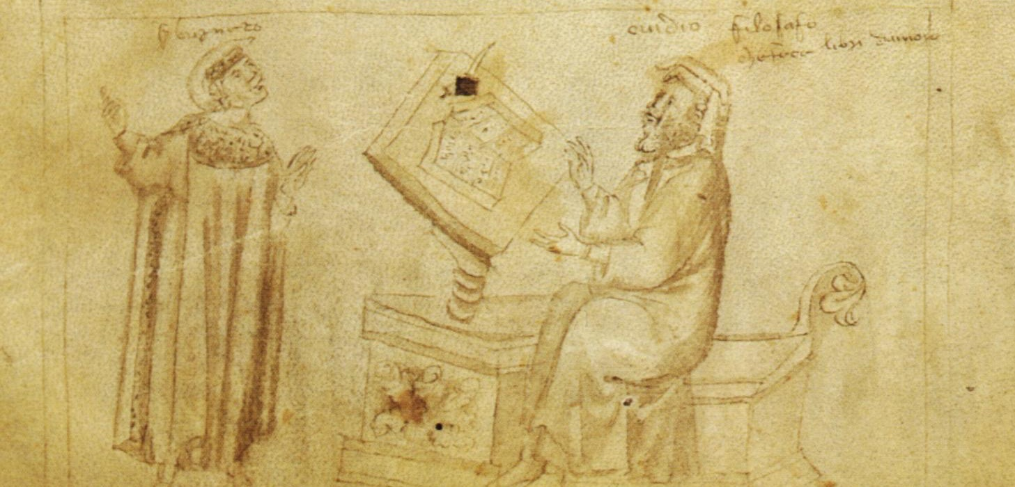 Brunetto Latini before Ovid. Strozziano 146, Fol. 21v. Biblioteca Medicea-Laurenziana.