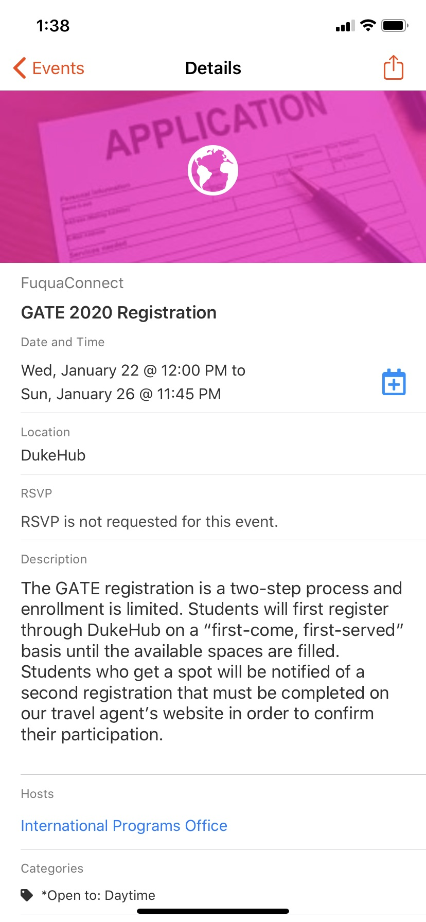 Event details for GATE 2020 Registration on Jan 22, 2020.