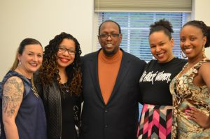 Professor Mark Anthony Neal with (from left to right)) Britt Rusert, Alisha Gaines, Bianca Williams, and Treva Lindsey. Photo Credit Suzanna Larkin.