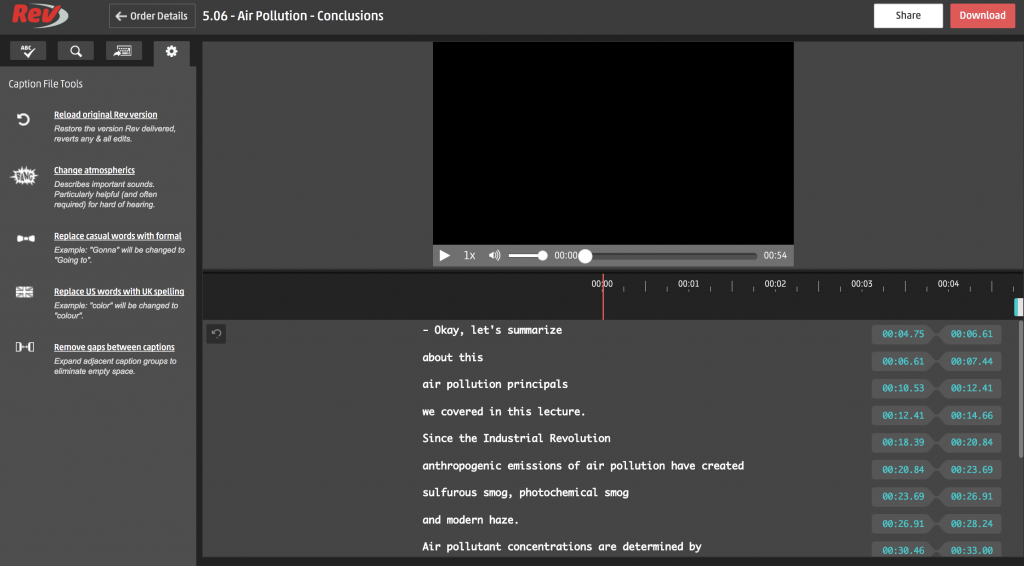 Rev's new browser-based caption editor