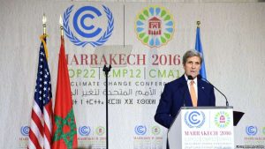 U.S. Secretary of State John Kerry delivers a speech at COP22 on November 16.