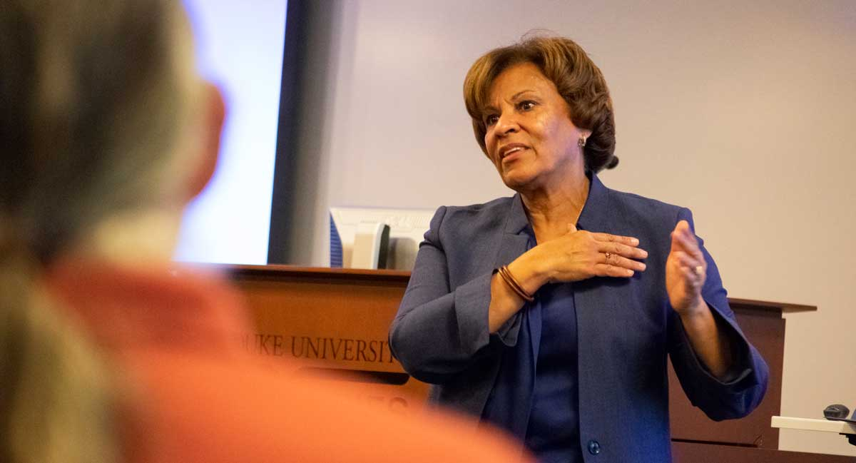 Cynthia Spence spoke to Duke faculty on November 1, 2018.