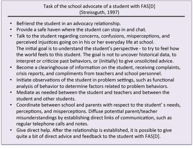 Task of school advocate