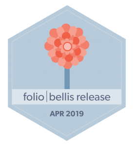 Badge with illustration of a bellis flower along with the FOLIO Bellis release date of April 2019