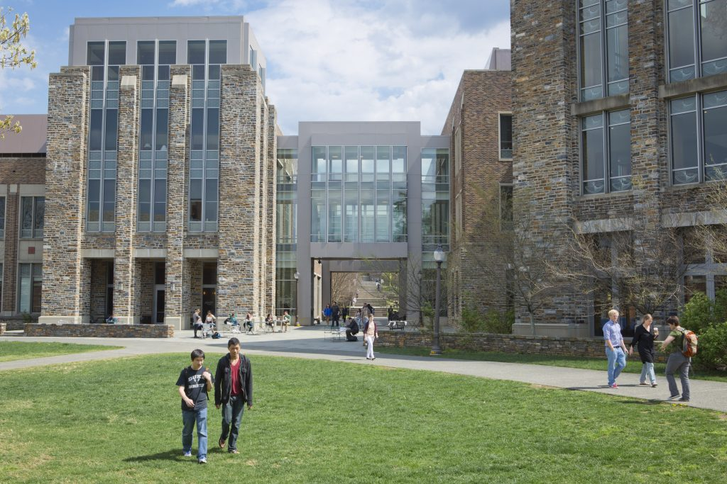 exterior views of The Fitzpatrick Center for Interdisciplinary Engineering, Medicine and Applied Sciences (F-CIEMAS) in spring