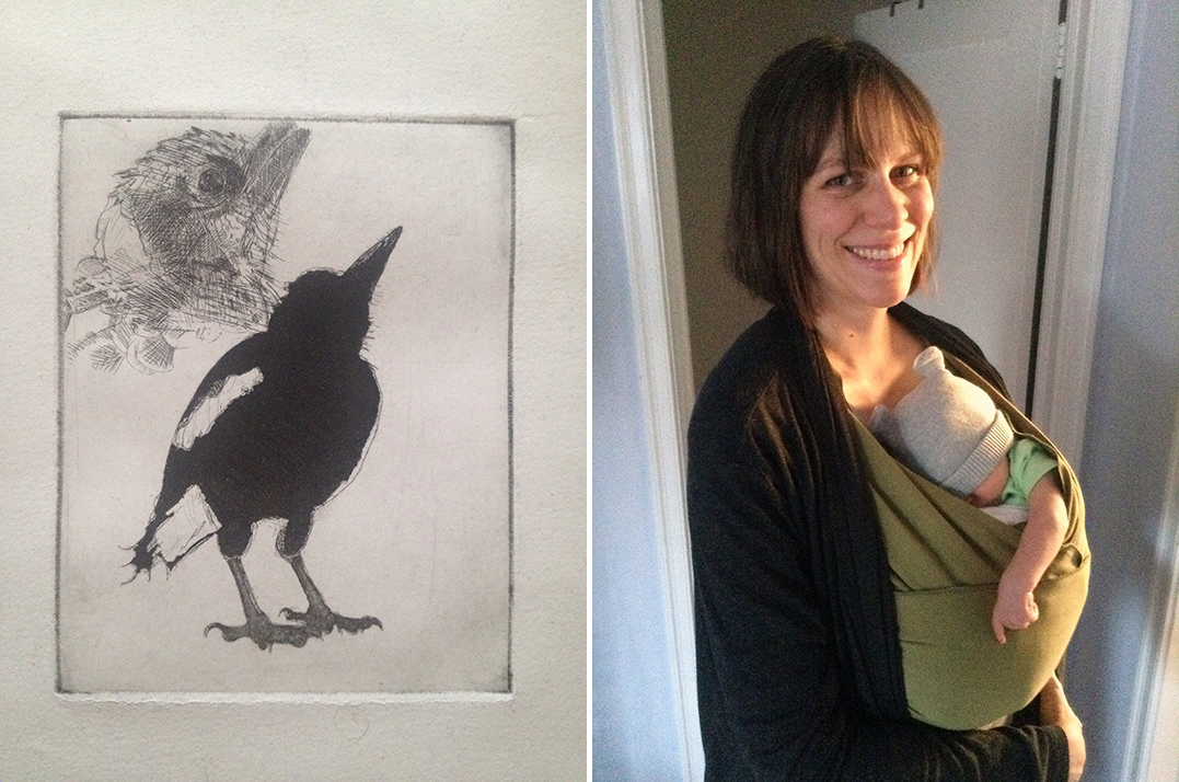 Stephanie Gehring Ladd and one of her prints