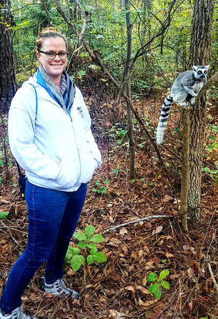 Sally Bornbusch and a lemur
