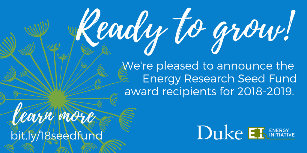 Energy Research Seed Fund Awards Eight Grants to Duke Faculty for 2018-2019