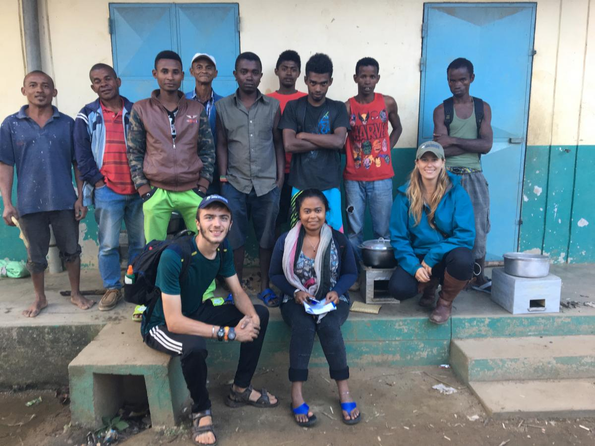 Team of researchers from the Duke Lemur Center, including Thomas Klug (BA,BS'18, Public Policy and Environmental Science), and cookstove competition participants in Andapa, Madagascar. Photo: Thomas Klug.