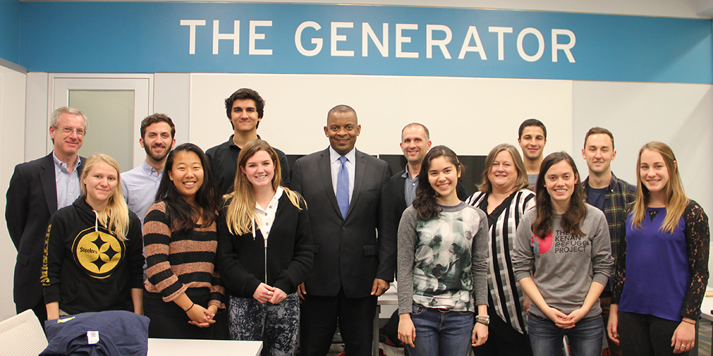 Photo by Braden Welborn: Jonathan Wiener (far left), Lori Bennear (fifth from right), and students on the Bass Connections team on adaptive regulation of emerging technologies host former U.S. Secretary of Transportation Anthony Foxx (center).