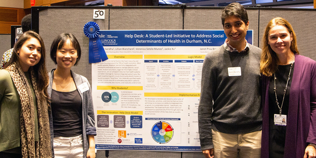 Veronica Sotelo Munoz, Jackie Xu, Sahil Sandhu, and Janet Prvu Bettger at Duke's Global Health Showcase.