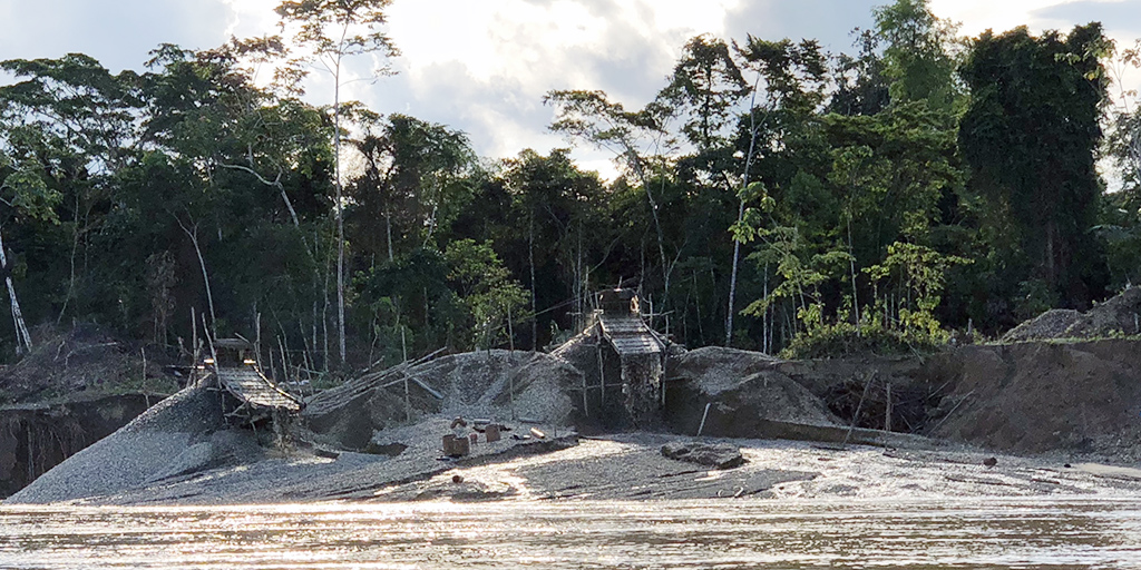 A gold-mining operation on the Madre de Dios river (photo: courtesy of Jackie Gerson).