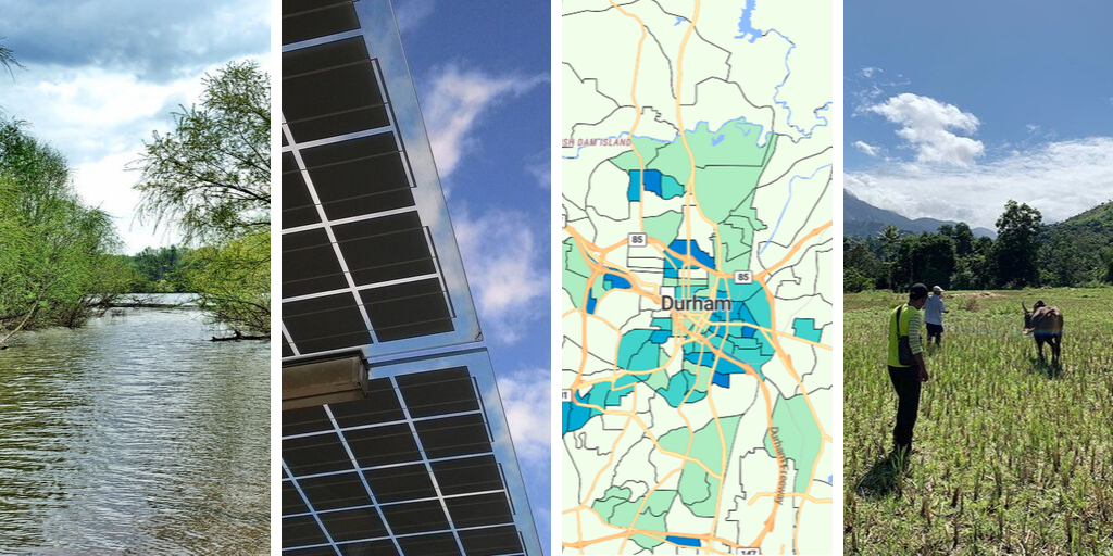 Yadkin River, NC; solar panels; summary ejectments per square mile in Durham; Bass Connections research in Madagascar.