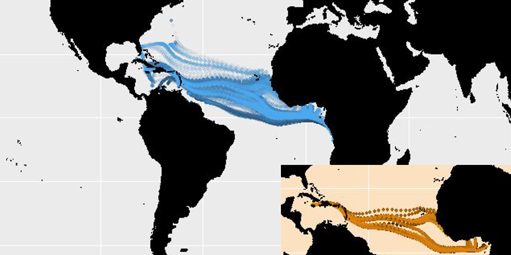 Prediction of 2,164 trans-Atlantic voyage paths that ended in the northern hemisphere based on the LSTM model; inset map:  prediction of 36 trans-Atlantic voyage paths based on the LSTM model, all of which have reasonably smooth lines. [From the Data+ team's executive summary].