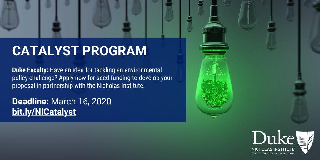 Nicholas Institute Invites Duke Faculty to Apply for 2020-21 Catalyst Grants