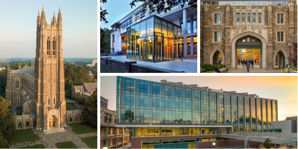 Images of Duke buildings in a collage.