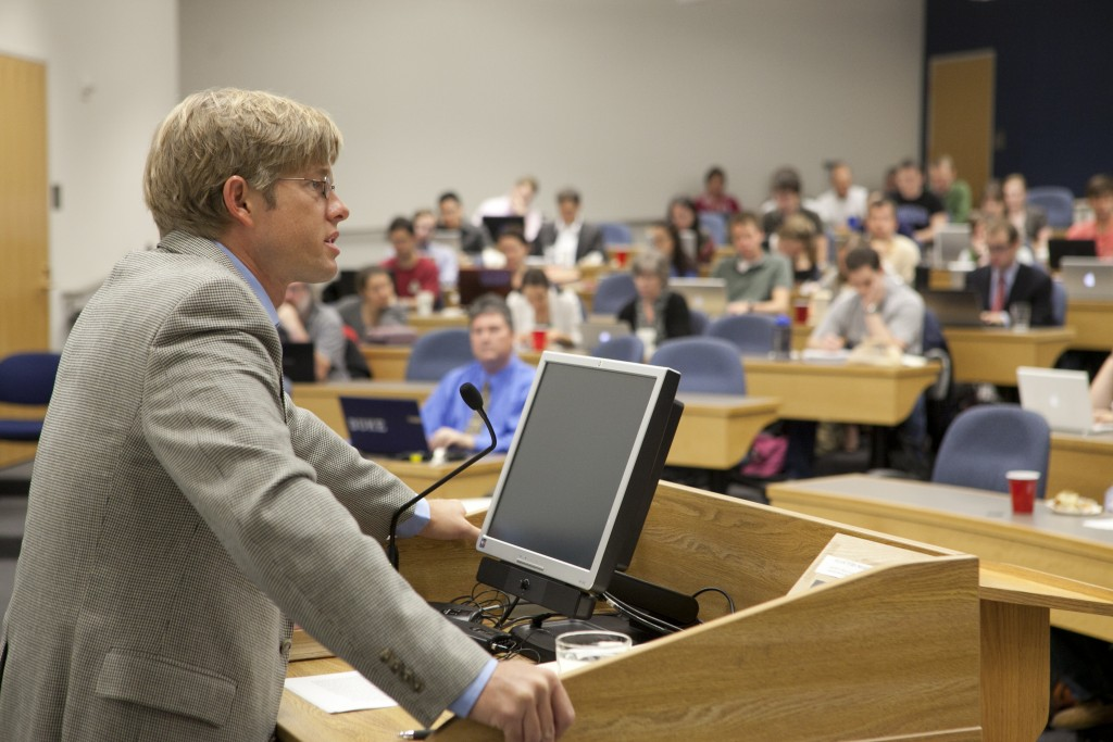 Kavin Rowe teaches a New Testament class in Westbrook Building