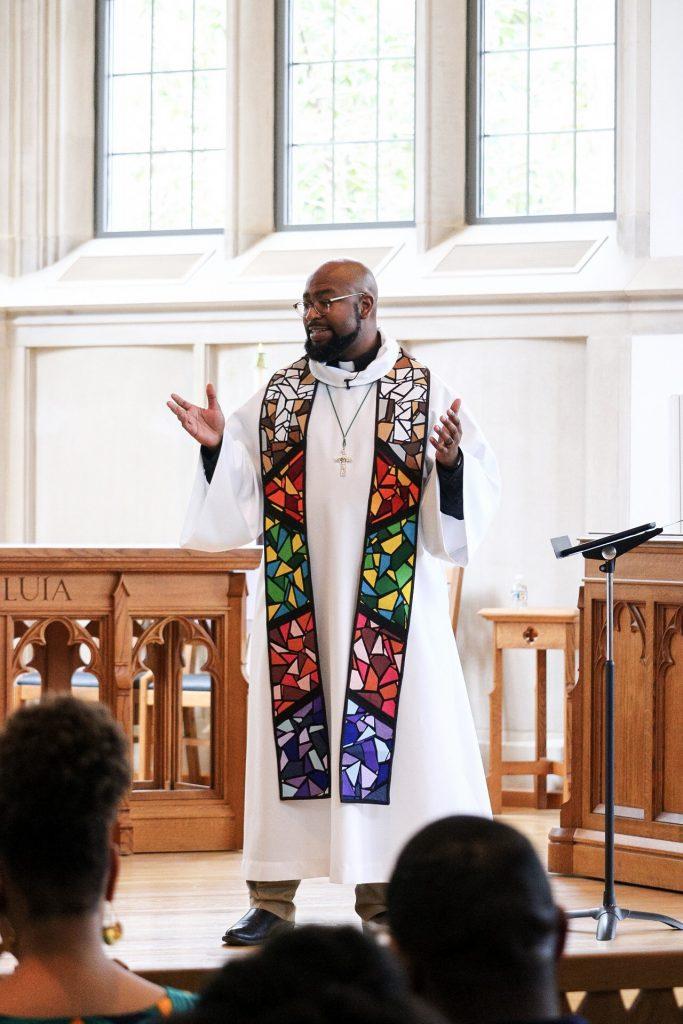 Giving a sermon.