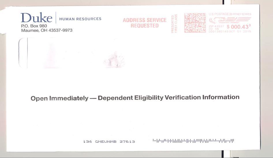 Envelope - Duke Dependent Eligibility Verification Initiative