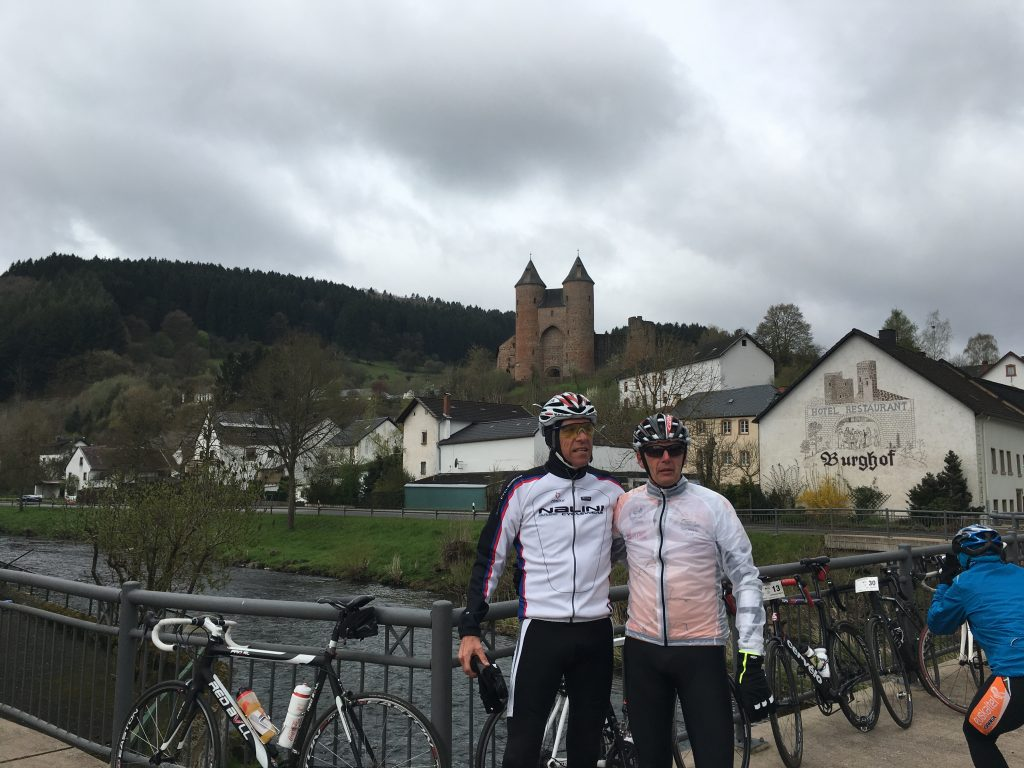 Taking a break with Dr. Niek van Dijk while cycling through a German town.