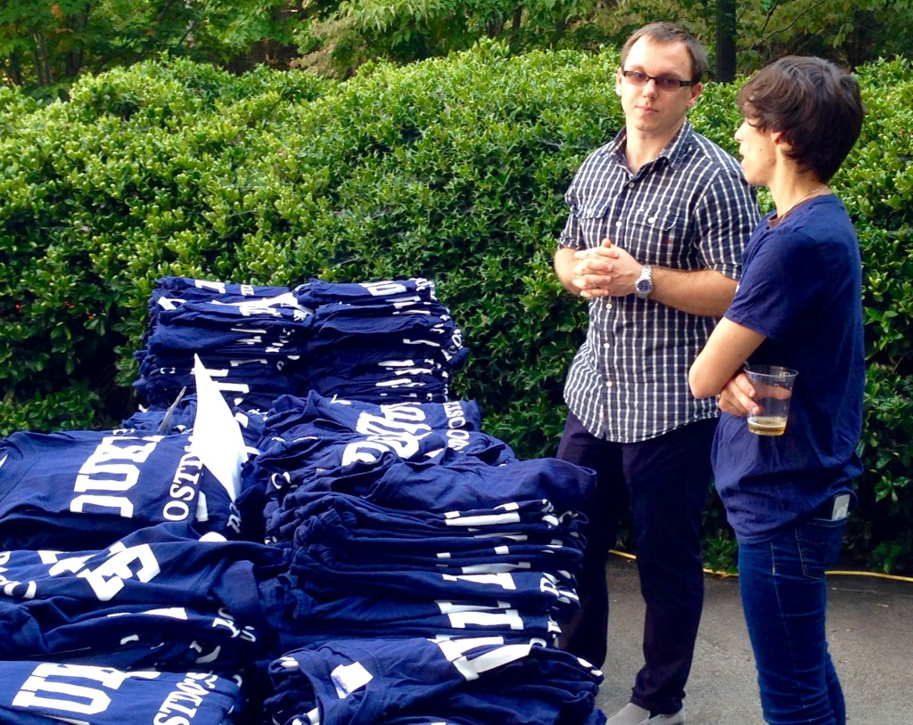 DUPA members give out Duke Postdoc t-shirts, courtesy of Duke Postdoctoral Services