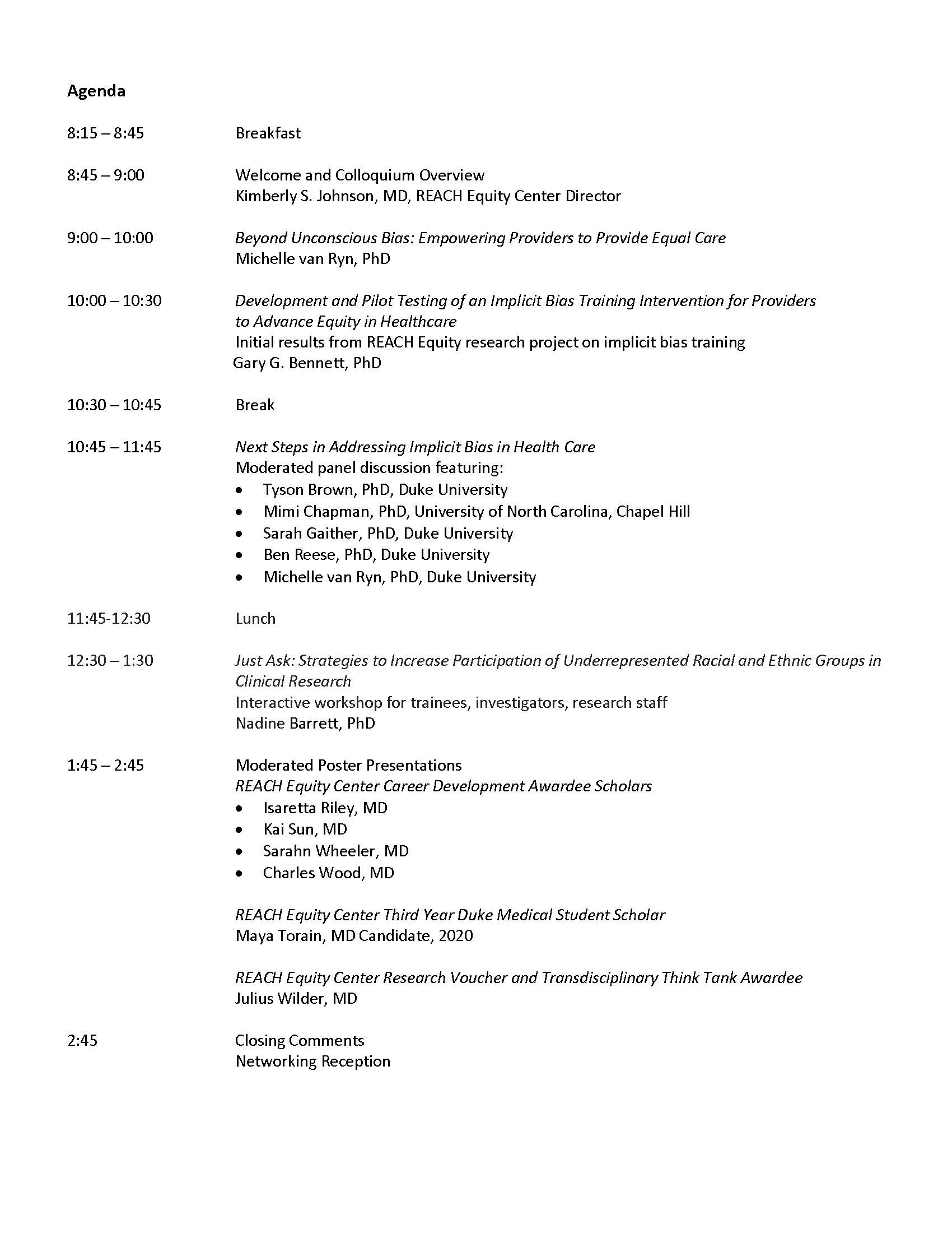 This is the agenda for the May 2019 REACH Equity Colloquium.