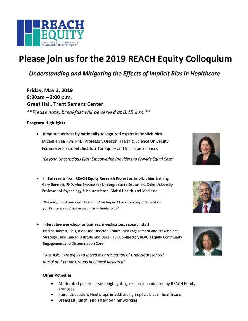 This is an invite to the May 2019 REACH Equity Colloquium.