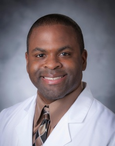 This is a photo of Larry Jackson II, MD, an assistant professor in the department of medicine, cardiovascular medicine, and adult cardiac electrophysiology.