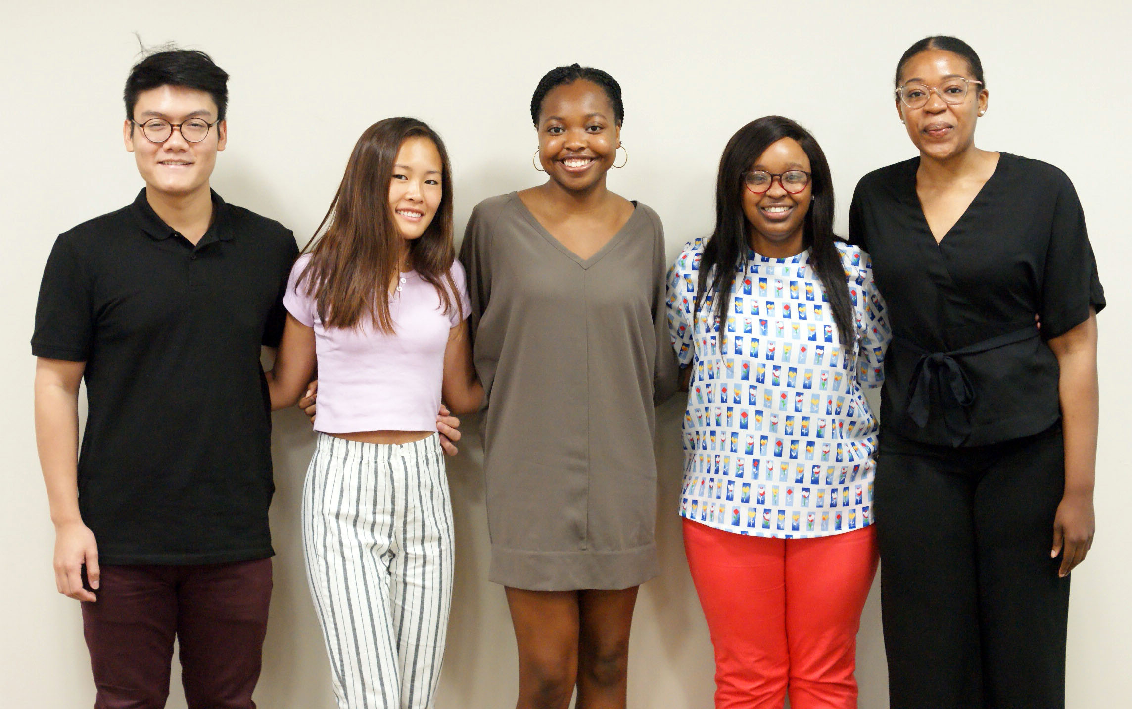 RESURP Students Brandon Bui, Angela Renne, Lenique Huggins, Destanei Hargrove, and Michaela Brown