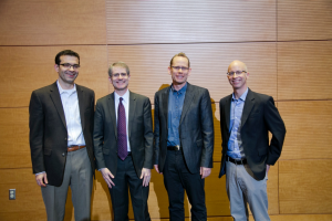 Regeneration Next directors (L-R): Nenad Bursac, PhD, Professor of Biomedical Engineering, Ben Alman, MD Professor & Chair of Orthopaedic Surgery, Dave Sherwood, PhD, Associate Professor of Biology, Ken Poss, PhD, Professor of Cell Biology & Biology