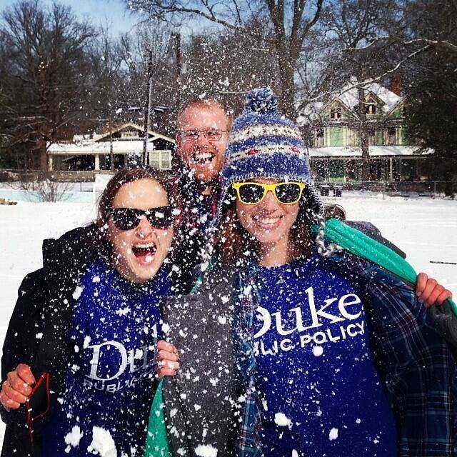 Laura, Mark and Rachel make the most of their snow day!