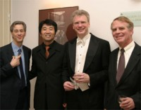 Conductor Toshiru Yonezu, with Cellist David Hardy, and US Ambassador Robertson,  European Premiere of Concerto for Cello, Slovenian Philharmonic, Ljubljana