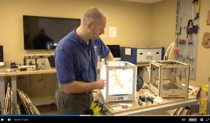 "Chip Bobbert demonstrates basic 3D printer maintenance in the online mini-course, ""3D Printing at Duke."""