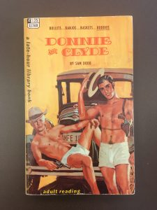 A gay pulp fiction depicting two shirtless male lovers lounging on a car