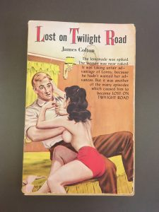 A queer pulp fiction depicting a man rejecting a topless woman's advances