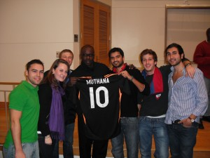 "Lilian Thuram with Students from Duke's ""World Cup and World Politics"" Class, November 12, 2009"