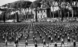 Italian fascist youths performing group exercises, 1936