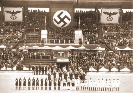 An image of a soccer stadium under the Nazi regime that shows how aggressively Hitler forced his influence into the sport.