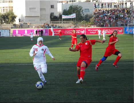 November 12, 2009--The Palestinian women's national team played Jordan in their first ever home international.  The game was played at Faisal al Husseini football stadium in the West Bank.