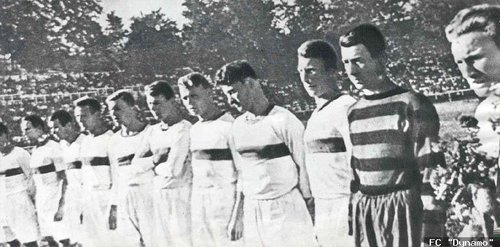 Trusevich, the famous goalie, is on the far right in the striped jersey he died in.