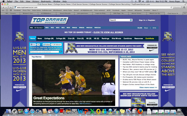 Top Drawer Soccer Topdrawersoccer Com Screen Shot  At  Pm