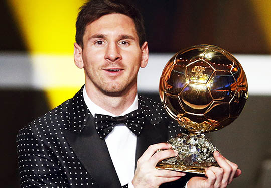Messi Of Argentina FIFA World Player The Year 2012 Holds His Trophy During
