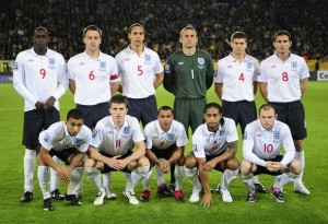 England squad line up for team photo before their World Cup 2010 qualifying soccer match against Ukraine in Dnipropetrovsk
