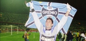 Danrilei after winning the Libertadores Cup in 1995