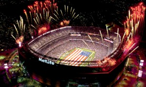 El estadio Metlife, recibiendo el Super Bowl (Super Tazón).